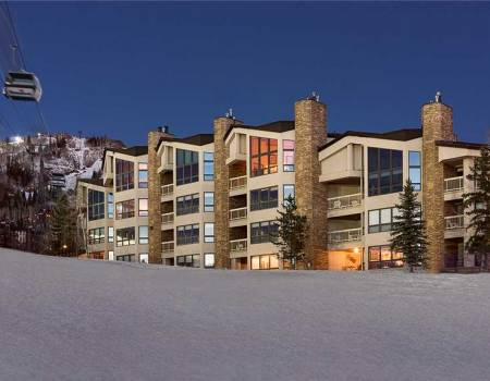The exterior of Chateau Chamonix in Steamboat Springs, CO