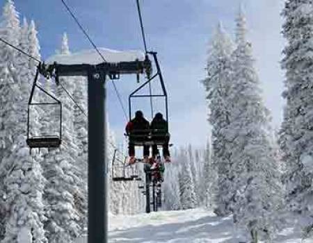 Ski chair lift on Steamboat mountain