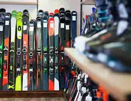 Ski rentals in a mountain town