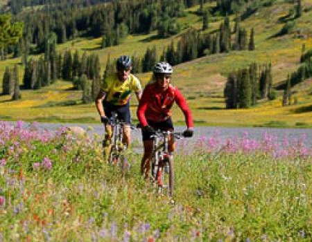 Bikers in Steamboat Springs, Colorado in the summer