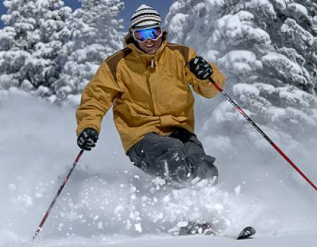 Skier in Steamboat Springs in the winter