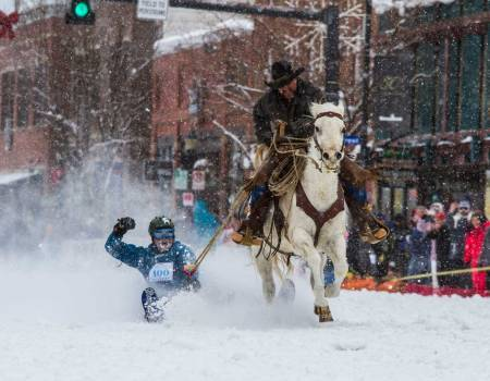 Cowboy downhill ski racers in Steamboat Springs