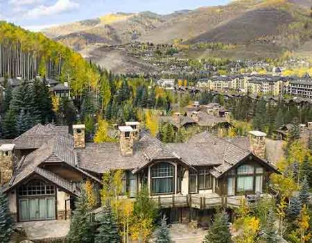 Vail homes and mountains in the background