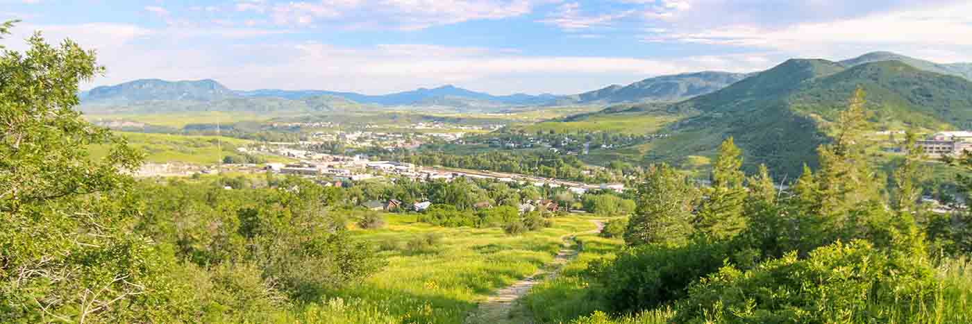 Steamboat Springs mountain and valley from afar